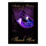 La máscara púrpura de Masqurade le agradece tarjet Felicitación