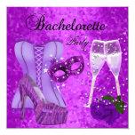 La máscara púrpura del fiesta de Bachelorette Invitación 13,3 Cm X 13,3cm