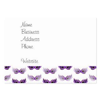 La mascarada púrpura bonita enmascara carnaval tarjetas de visita grandes