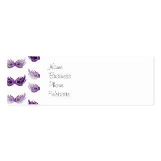 La mascarada púrpura bonita enmascara carnaval tarjetas de visita mini