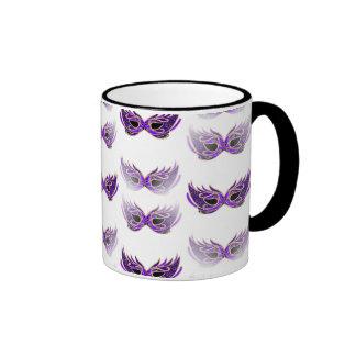 La mascarada púrpura bonita enmascara carnaval taza de dos colores