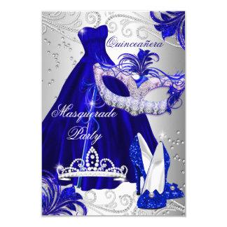 """La mascarada Quinceanera del vestido del azul y de Invitación 3.5"""" X 5"""""""