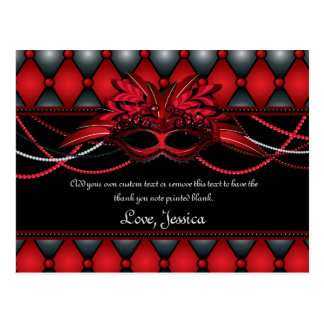 La mascarada roja de rubíes le agradece las postales