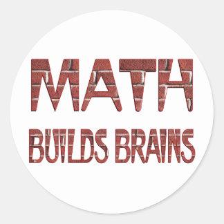 La matemáticas construye cerebros pegatinas redondas
