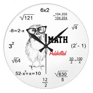 La matemáticas envició el búho nerdy reloj redondo grande