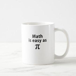 La matemáticas es fácil como pi taza básica blanca