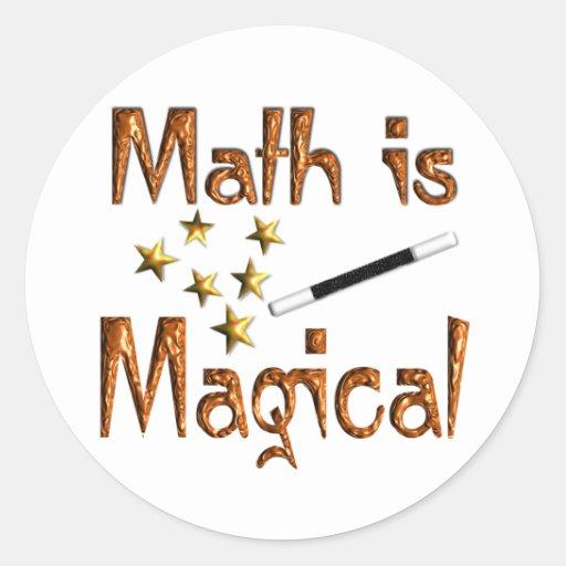 La matemáticas es mágica pegatina redonda