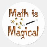 La matemáticas es mágica pegatinas redondas