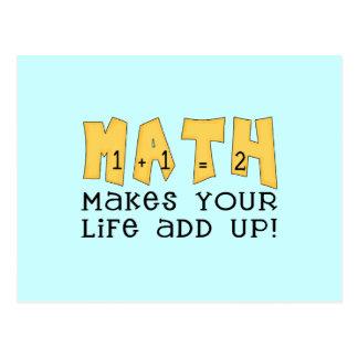 La matemáticas hace que su vida añade para arriba tarjetas postales