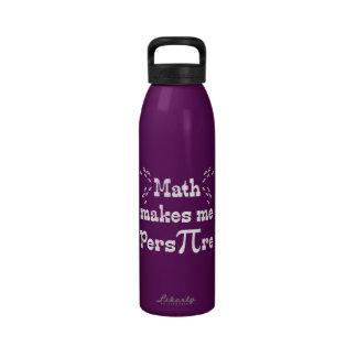 La matemáticas hace que transpira - lema divertido botella de agua reutilizable
