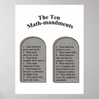 La Matemáticas-Mandments diez Impresiones