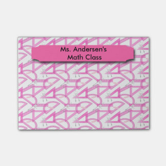 La matemáticas rosada de los profesores equipa notas post-it®