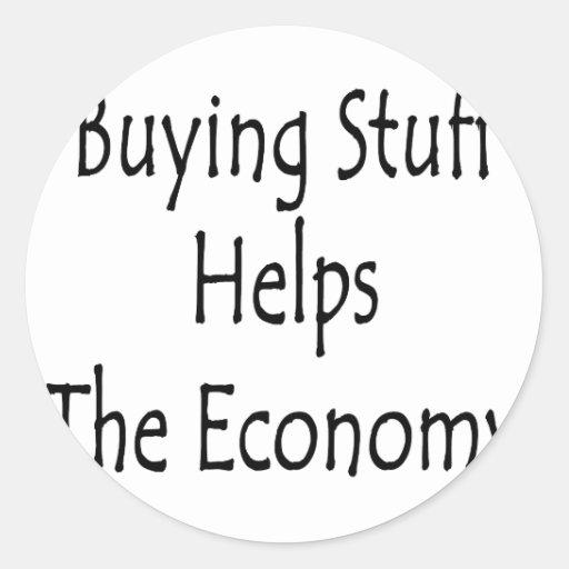 La materia de compra ayuda a la economía pegatinas redondas
