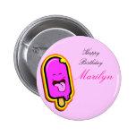 La materia dulce fresca - botón rosado del cumplea pin