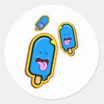 La materia dulce fresca - diseño feliz azul del he etiqueta redonda