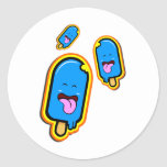 La materia dulce fresca - diseño feliz azul del pegatina redonda