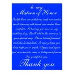 La matrona del honor le agradece