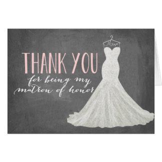 La matrona del honor le agradece dama de honor del tarjeta pequeña