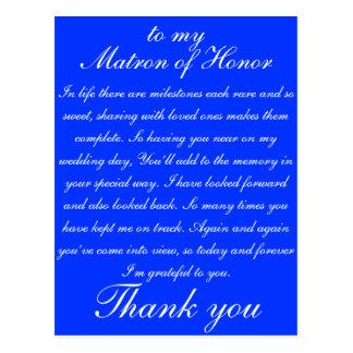 La matrona del honor le agradece postal