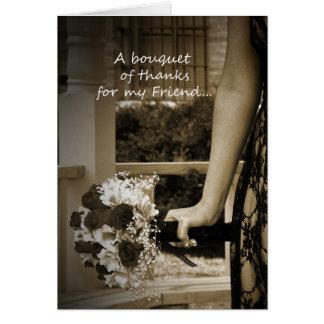 La matrona elegante del amigo del honor le agradec tarjeta de felicitación