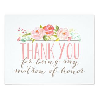 """La matrona floral del honor le agradece invitación 4.25"""" x 5.5"""""""
