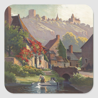 La Mayenne Pittoresque France Railways Vintage Square Sticker