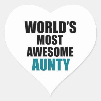 La mayoría de la tía impresionante pegatina en forma de corazón