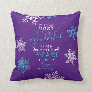 La mayoría del navidad púrpura de la turquesa del cojín