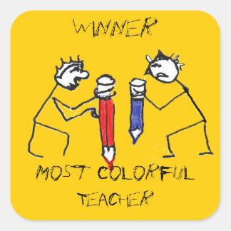 La mayoría del profesor colorido pegatina cuadrada
