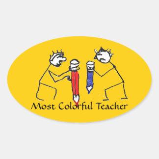La mayoría del profesor colorido pegatina ovalada