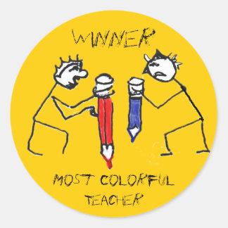 La mayoría del profesor colorido pegatina redonda