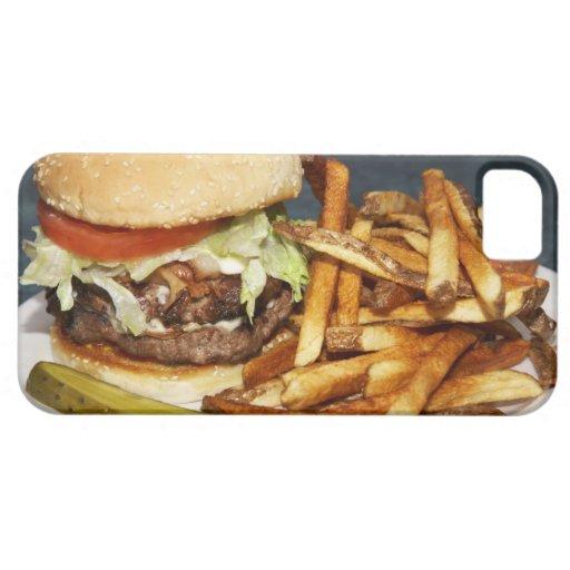 la media hamburguesa doble grande de la libra fríe iPhone 5 protectores