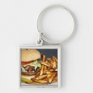 la media hamburguesa doble grande de la libra fríe llavero cuadrado plateado