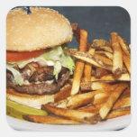 la media hamburguesa doble grande de la libra fríe calcomanías cuadradas personalizadas