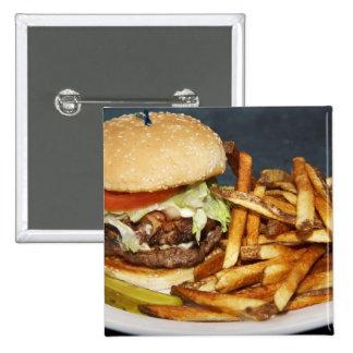 la media hamburguesa doble grande de la libra fríe pin cuadrado