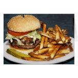 la media hamburguesa doble grande de la libra fríe tarjetas