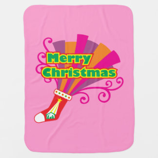 La media roja de encargo de las Felices Navidad Mantas De Bebé