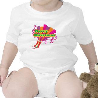 La media roja de encargo de las Felices Navidad Trajes De Bebé