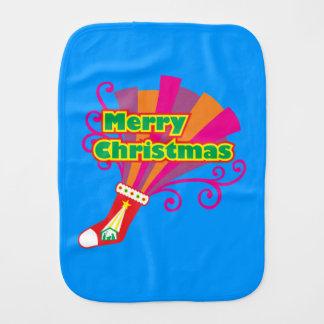 La media roja de encargo de las Felices Navidad Paños Para Bebé