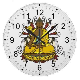 La medicina Buda Reloj Redondo Grande