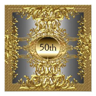 """La mejor 50.a fiesta de cumpleaños del oro invitación 5.25"""" x 5.25"""""""