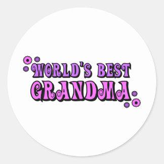 La mejor abuela del mundo etiqueta redonda