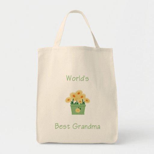la mejor abuela del mundo (flores amarillas) bolsa tela para la compra