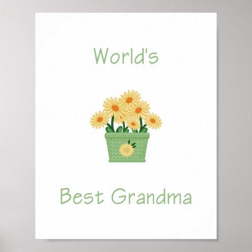 la mejor abuela del mundo (flores amarillas) impresiones