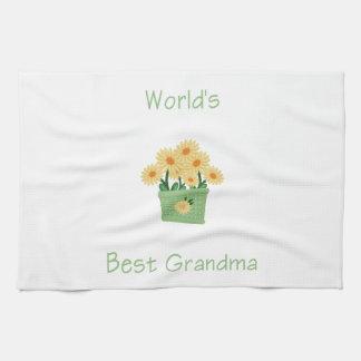 la mejor abuela del mundo (flores amarillas) toallas de mano
