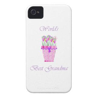 la mejor abuela del mundo (flores rosadas) iPhone 4 protectores