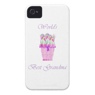 la mejor abuela del mundo (flores rosadas) Case-Mate iPhone 4 cárcasas