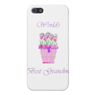 la mejor abuela del mundo (flores rosadas) iPhone 5 carcasa