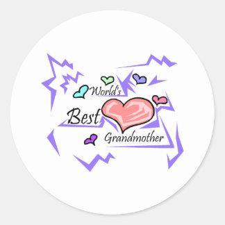 La mejor abuela del mundo pegatinas redondas