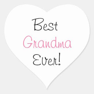 ¡La mejor abuela nunca Pegatina blanco del cora